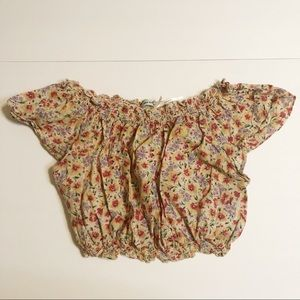 Urban Outfitters Floral Off The Shoulder Crop Top